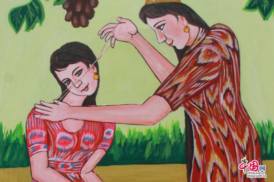 维吾尔族同胞在画作中运用了艾德莱斯的传统花纹元素,表达了他们传统