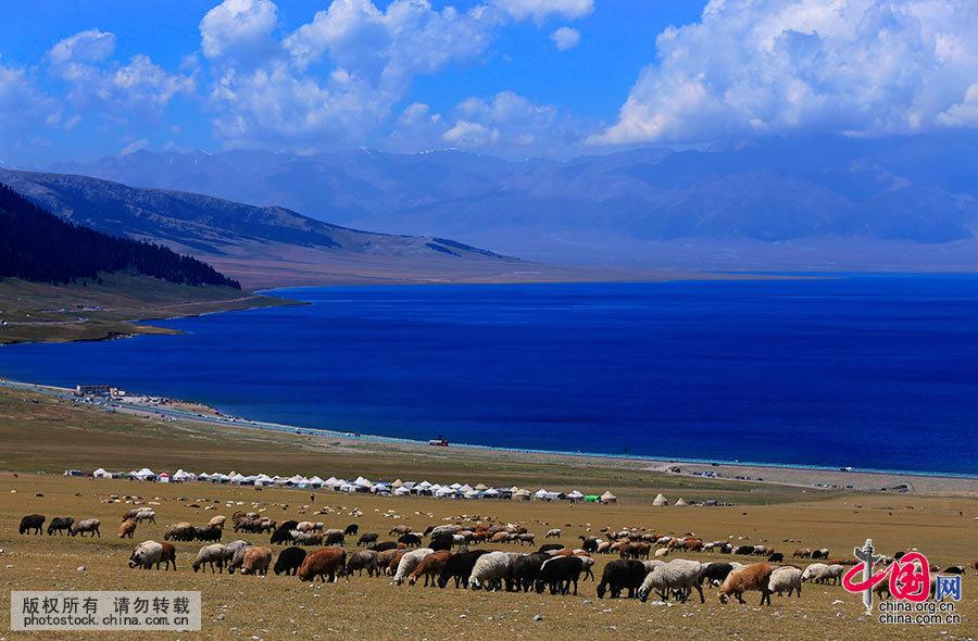 """赛里木湖古称""""净海"""",是新疆海拔最高、面积最大的高山湖。中国网图片库 杨东摄"""