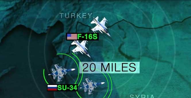 """美俄戰機在敘上空""""近距""""接觸"""