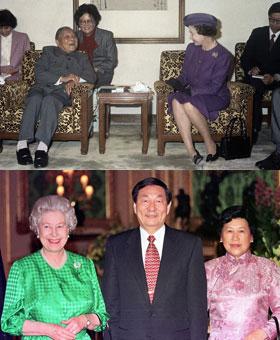 英国女王与中国几位领导人的合影