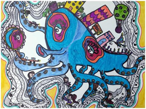 夏天儿童画作品小学生范画v作品作文的五百小学字图片