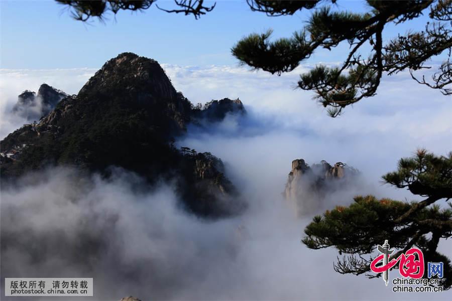 10月27日,在黄山风景区拍摄的云海美景。当日,安徽黄山风景区雨后放晴,出现了壮观迷人的云海。中国网图片库 施广德 摄