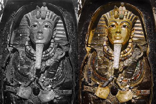年法老图坦卡蒙墓室彩照首次曝光图片
