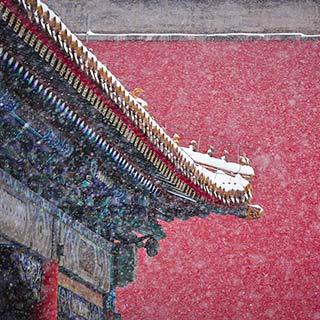 """北京""""小雪""""时节大雪纷飞 白雪镶红墙美不胜收[组图]"""
