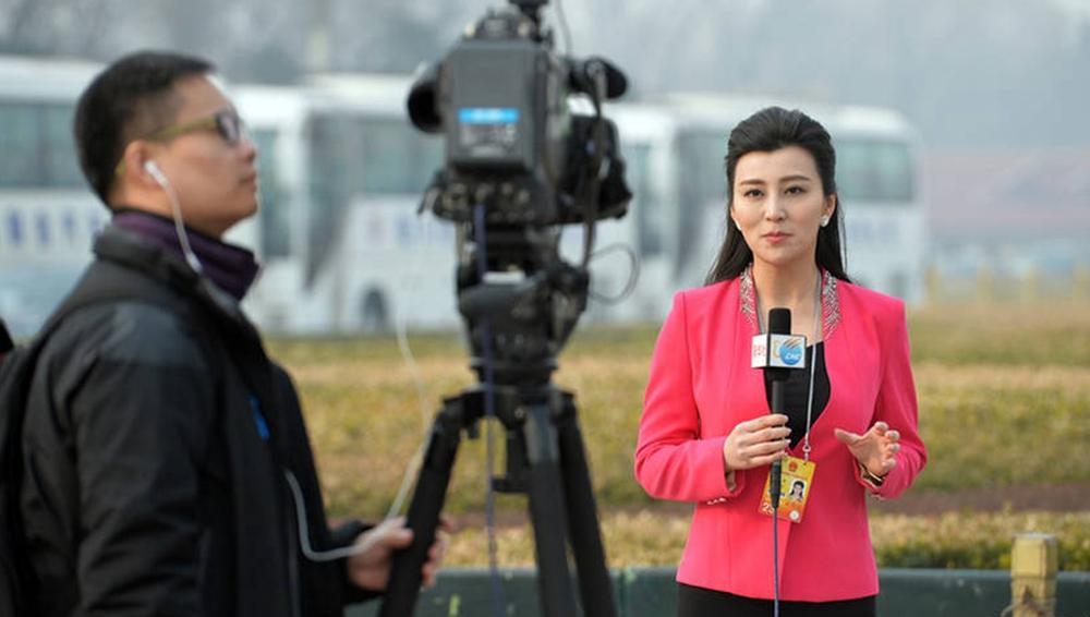 两会靓丽风景线:美女记者精致妆容出镜