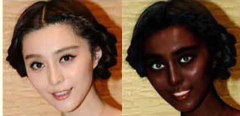 范冰冰遭恶搞变黑人 网友:美不美该问李晨!