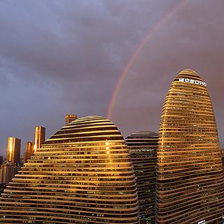 雨后北京天空现罕见双彩虹[组图]