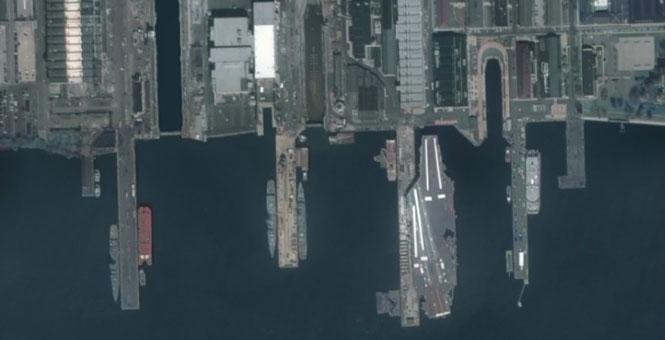 我商用衛星拍到美航母清晰圖 軍用水準引猜想