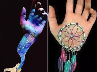 女大学生把手掌变成了艺术品 画满彩绘