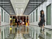 上海陆家嘴地下通道启用 绚丽如梦幻空间