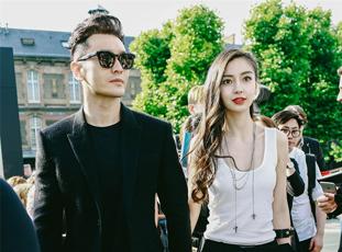 黄晓明Angelababy巴黎携手看秀 街拍美图曝光