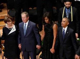 奥巴马、拜登、小布什出席警察追悼会