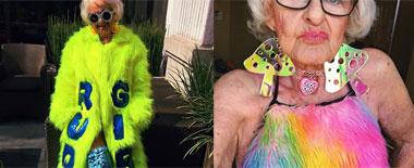美国88岁老奶奶穿着时髦怪诞成网红
