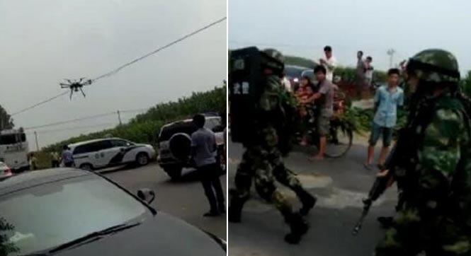男子枪击警察后逃跑 警方动用无人机