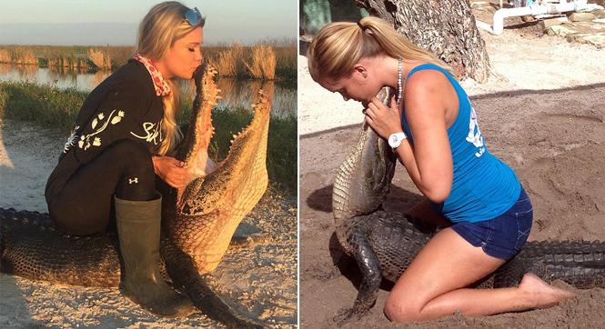 女子自15岁起抓百余只鳄鱼 称就像抓宠物_