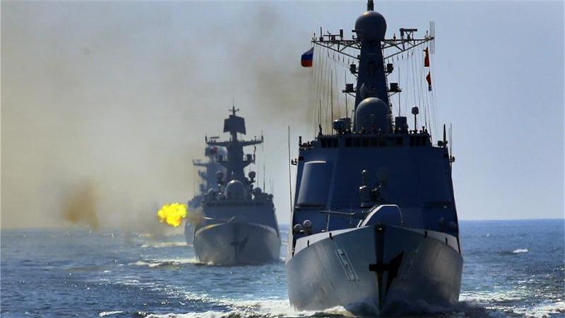 直击中俄'海上联合—2016'军事演习实际使用武器演练