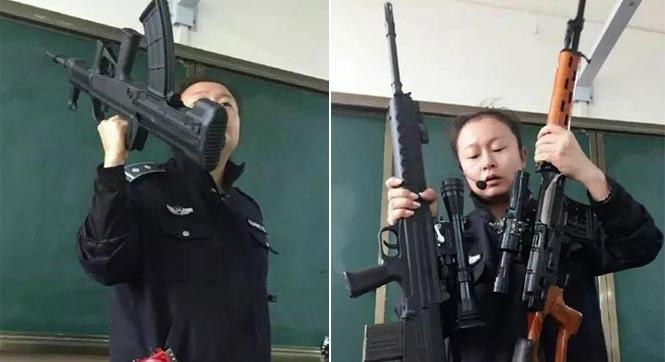 """霸气侧漏!云南一女老师""""扛枪""""上课"""