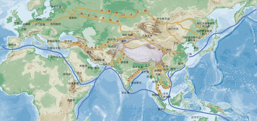 一帶一路經濟走廊及其途徑城市分佈地勢圖
