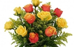 彩色玫瑰和黃玫瑰相間插花藝術