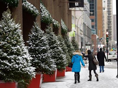 蒙特利尔迎来今冬第一场雪