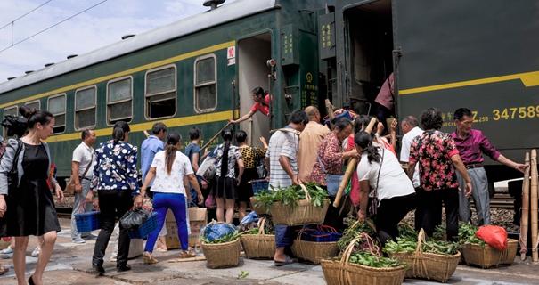 图片故事:实拍菜农专列 京广线上最'袖珍'的火车