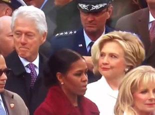 克林顿偷瞄特朗普女儿 遭希拉里怒视