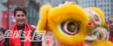加总理特鲁多穿唐装参加春节游行