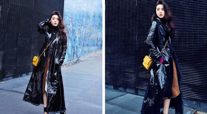 范冰冰現身塗鴉街頭 黑色漆皮大衣帥氣瀟灑