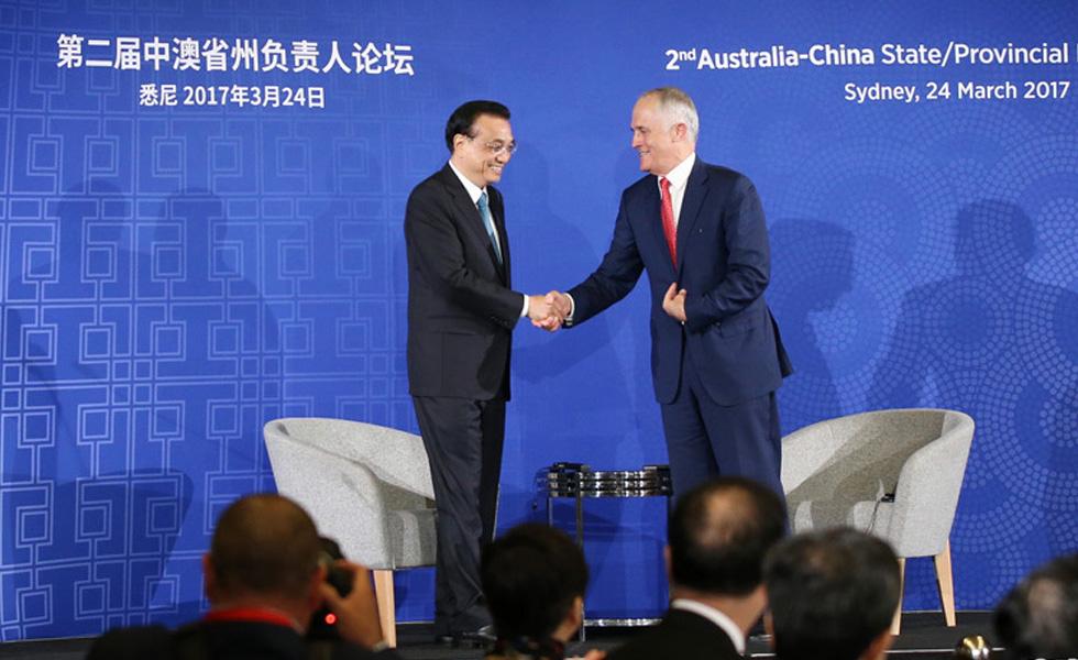 李克强与特恩布尔出席第二届中澳省州负责人论坛并致辞