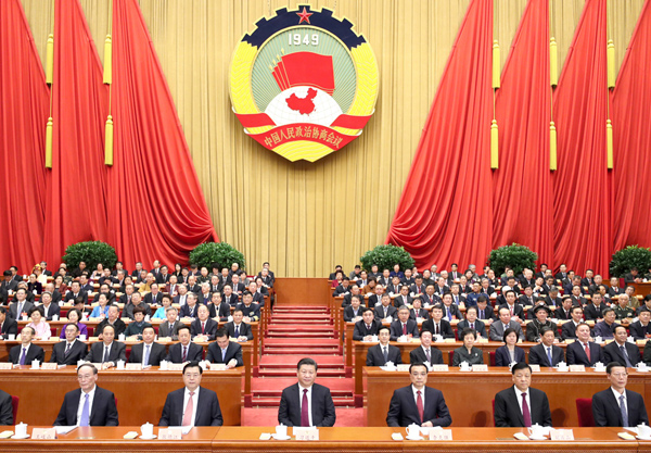 2017年3月3日,中国人民政治协商会议第十二届全国委员会第五次会议在人民大会堂开幕。大会期间,2000多位政协委员紧紧围绕十三五规划实施等关系国计民生的重大问题,深入协商议政,认真履行职能,为实现两个一百年奋斗目标、实现中华民族伟大复兴的中国梦贡献智慧力量。党和国家领导人习近平、李克强、张德江、刘云山、王岐山、张高丽等在主席台就座,祝贺大会召开。