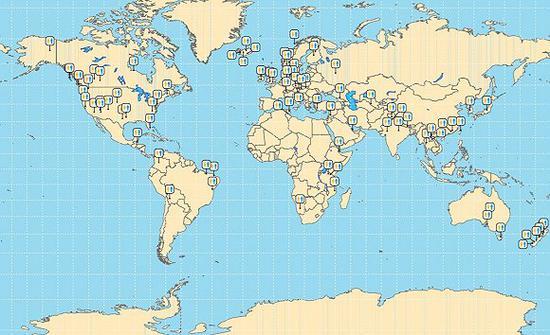如图中的标记,书中记载的厕所遍布全球