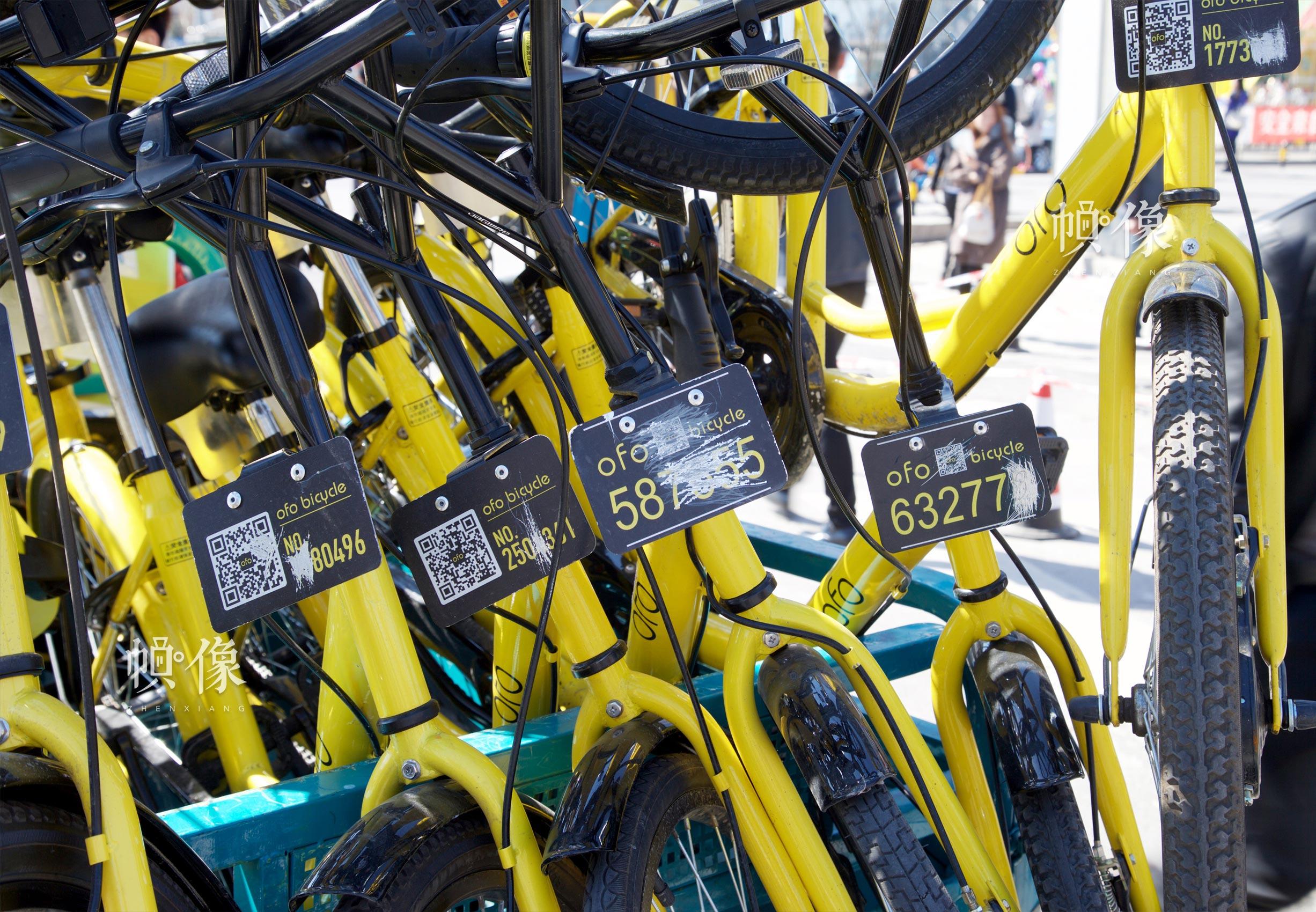 被破坏的共享单车,二维码遭涂抹。中国网记者 高南 摄