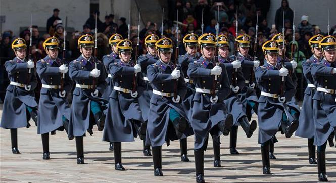 俄总统警卫团举行2017年度首次换岗仪式