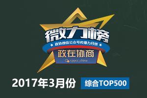 政协微信公众号传播力2017年3月榜(综合TOP 500)