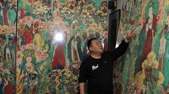 """河北画家10年临摹完成""""毗卢寺壁画"""""""