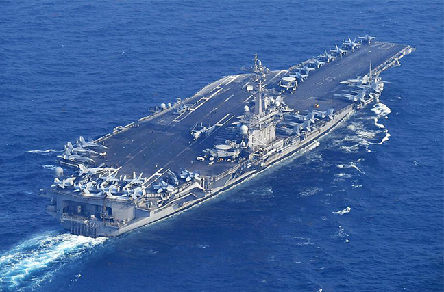 美国'卡尔·文森'号航母行踪确认:29日驶离日本长崎向朝鲜半岛进发