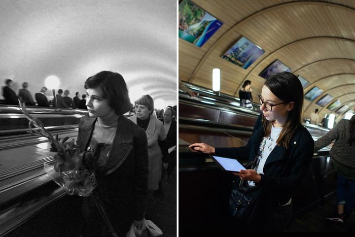 莫斯科地铁今昔对比照 手中鲜花变平板