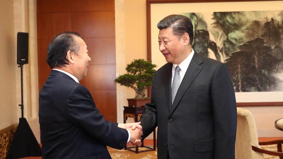 习近平会见日本自民党干事长二阶俊博