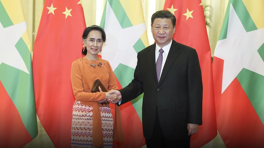 习近平会见缅甸国务资政昂山素季