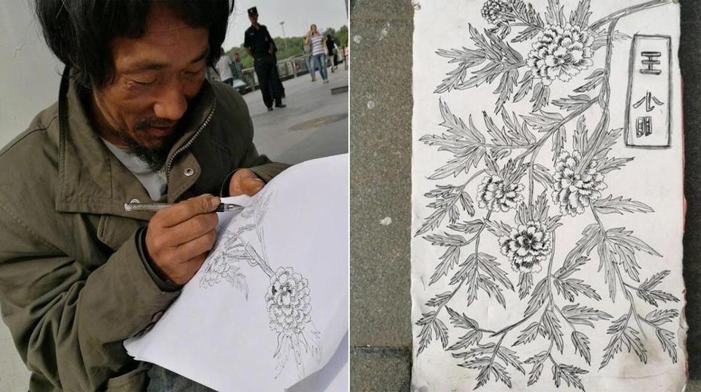 西安流浪漢街頭自學手繪 拒絕賣畫