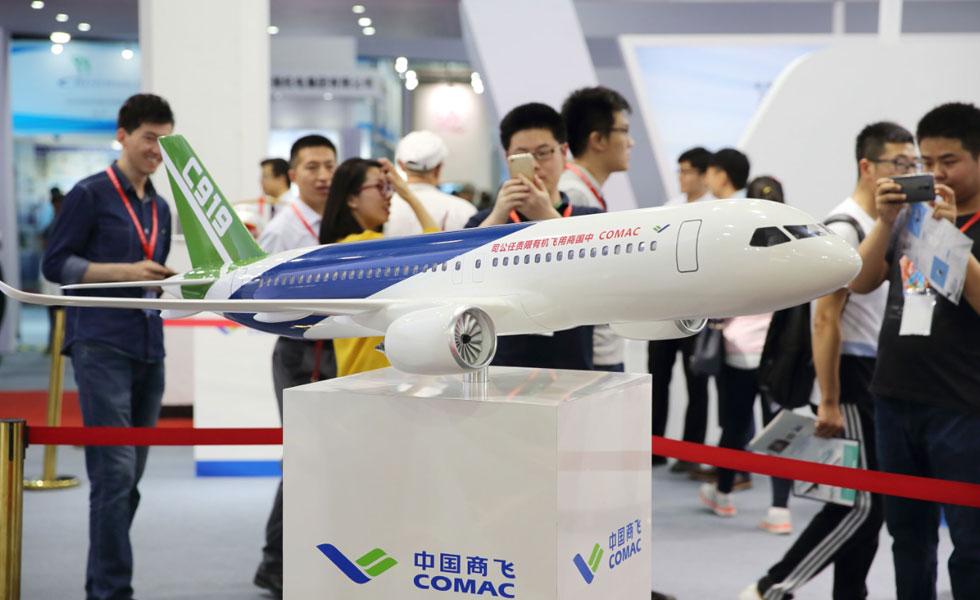 C919大型客机模型亮相2017北京科博会