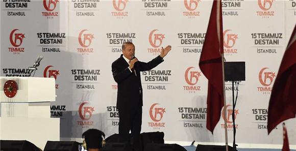 土耳其政府举行未遂军事政变一周年集会活动