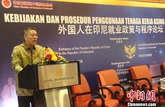 圖為中國駐印尼大使館經商處公使銜參贊王立平出席論壇並致辭。 林永傳 攝
