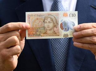 英國發行10英鎊肖像紙鈔 紀念簡·奧斯汀