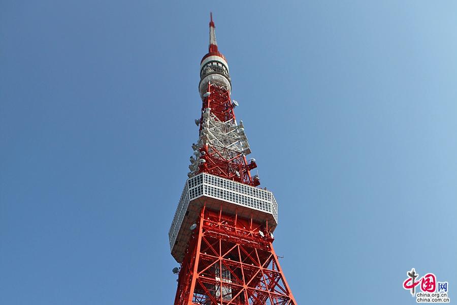东京塔100米处为方形的展望台