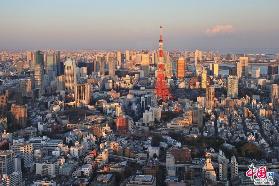 夕阳映照下的东京塔