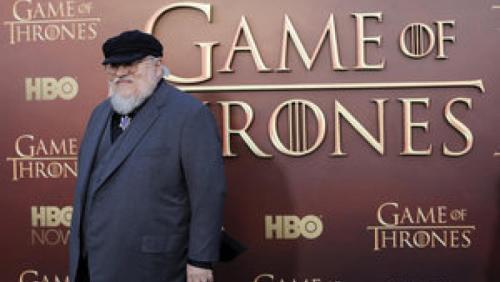 资料图片:《权力的游戏》系列图书作者美国作家乔治·R·R·马丁出席HBO公司活动。