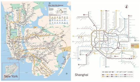 纽约和上海地铁路线图对比-老外在纽约地铁也被挤爆 中美地铁实力大图片