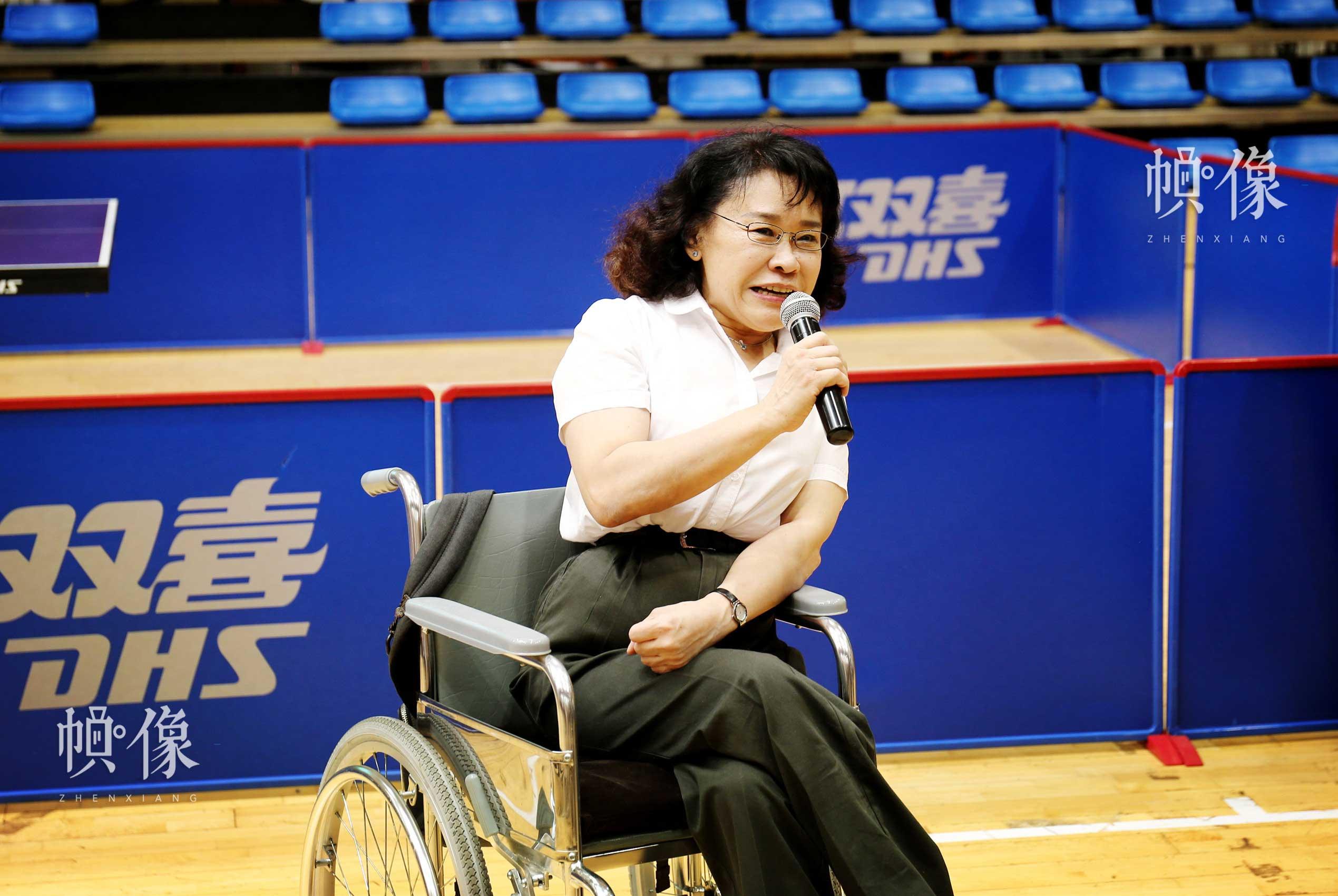 中国残联主席、中国残奥会主席张海迪在第七届残疾人健身周推广日活动现场致辞。中国网记者 王梦泽 摄