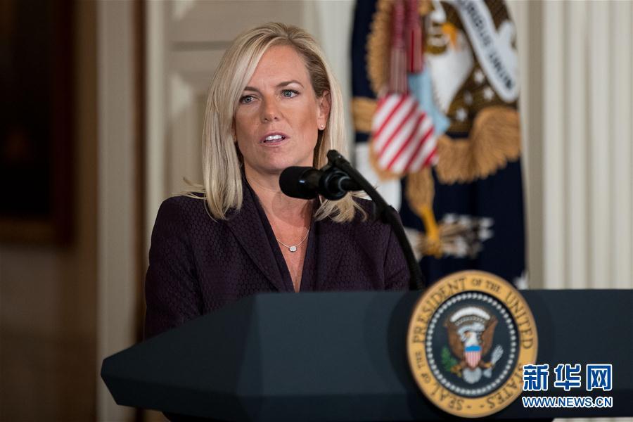 10月12日,在美国华盛顿白宫,克尔斯滕·尼尔森出席提名仪式。